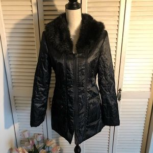 WHBM Black Winter Coat With Faux Fur Collar Sz S